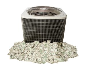 outside-ac-unit-sitting-atop-money-with-white-background